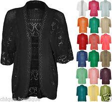 Ladies Crochet Knit Lot Plus Size Short Sleeve Open Shrug Bolero Cardigan 14-30