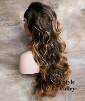 BROWN MIX 3/4 Wig Fall Hairpiece Long Wavy/Curly Half Wig Layered XL Hair Piece