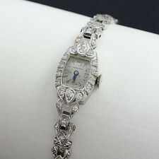 Vintage Platinum .24cttw Diamond Hamilton Ladies Wrist Watch ca. 1949-1954