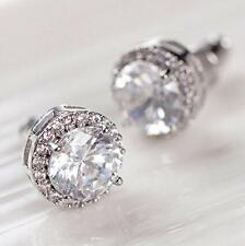 Women's 18K White Gold Plated Crystal Zircon Inlaid Ear Stud Earrings Jewelry T