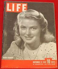 Life Magazine November 12, 1945 Ingrid Bergman ads Cadillac Very Good Cond.