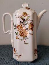 "Haviland & Co. ~ Limoges ~ 9⅞"" CHOCOLATE POT with LID ~ Hand Painted Gold Floral"