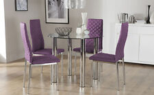 Solar & Renzo Glass & Chrome Dining Table And 4 Chairs Set (Purple)