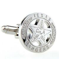 Texas Ranger Badge Star Cufflinks Wedding Groom Father Gift Box Free Ship USA