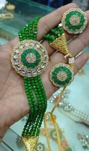 Bollywood Indian Gold Plated Jewelry CZ AD Kundan Green Choker Necklace Earrings