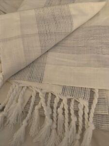 Hearth & Hand String Plaid Shower Curtain Faded Blue / Sour Cream