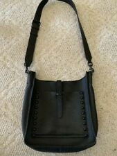 Rebecca Minkoff Black Leather Feed Bag Crossbody Handbag w Black Studs