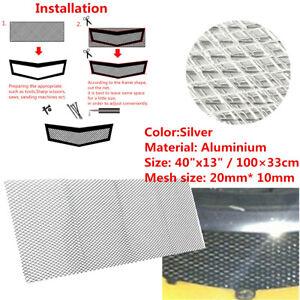 "1 Sheet 40""x13"" Silver Radiator Grille /Engine Bay Rhombus Mesh Protect Net"
