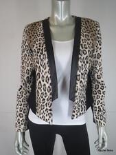 NWT $495 MILLY 6 Sexy Faux Fur Cheetah Black Lambskin Leather Trim Jacket NEW