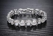 18K White Gold GP Pure White Swarovski Crystals Bracelet Luxury New!!!