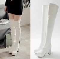 Womens Over Knee High Thigh Boots High Block Heels Platform Pull On Casual Shoes