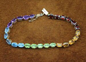 "4mm Rainbow ""Multi-Gemstone"" Multi-Color Tennis Bracelet 14k Yellow Gold 6 1/2"""
