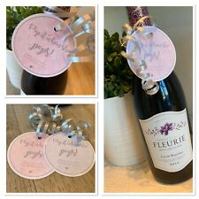 5 X Mini wine bottle labels tags silver PROSECCO baby shower gift tags POP it