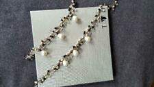 Silver necklace and bracelet set with pearls black onyx & clear rock crystals