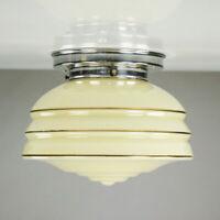 Art Deco Deckenlampe Glasschirm Leuchte getreppt Goldrand Vintage 30er 40er