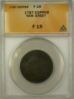 1787 New Jersey Colonial Copper Coin ANACS F-15 Fine (Maris 31-L DS 3)