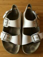 cef718f4ca0 BIRKENSTOCK Milano White 2 Front Heel Strap Leather Birko-Flor Sandals 35 L4