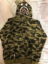 Bape A bathing ape camo shark hoodie Green Large