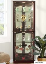 Corner Curio Display Cabinet Glass Shelves 5 Mirrored Lighted Tall Furniture