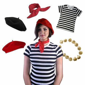 Classic French Women's Costume: Fancy Dress Accessories Scarf Beret Onions Party