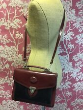 Vintage Chiltern Leather Messenger Cross Body Handbag Black Brown