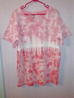 SOUTHERN SPIRIT Size XL T-SHIRT V-Neck TIE-DYE Short-Sleeves PINK Tunic BOHO