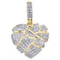 "10K Yellow Gold Diamond Shattered Heart Pendant Broken Love 0.80"" Charm 1/4 CT"