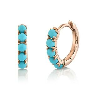 """14K Solid Rose Gold Turquoise Huggie Earrings Cabochon 0.43CT 0.40"""" Hoops"""
