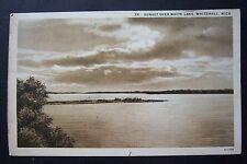 Sunset over WHITE LAKE, Whitehall, Michigan vintage postcard, photo circa 1931