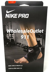 New Nike Pro Ankle Compression Elastic Wrap Sleeve LARGE Black Therapy #31