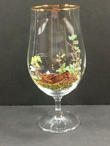 Vintage Crystal Wine Water Goblet With Rabbit Picture And Gold Rim