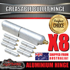 x8 80mm x 13mm Aluminium Greasable Bullet Hinges S/S Pin & Washer Tailgate Door