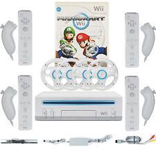 Original Nintendo Wii Weiß Konsole Mario Kart 4x Remote 4x Nunchuck 4x Lenkräder