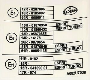 Lotus Homologation Decal (Sticker) - Esprit, Esprit Turbo - A082U7038