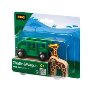 BRIO 33724 Giraffe and Wagon Wooden Railway Rolling Stock inc 2 pcs Age 3 Years+