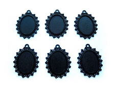 6 Goth Punk Black Gothic CHIC Style 25mm x 18mm CAMEO PENDANTS Frame Settings