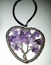 Amethyst Colored Tree of Life Necklace