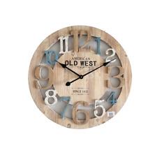 Mobili Rebecca® Orologio a Parete Legno Azzurro Bianco Rustico Rotondo 60 cm