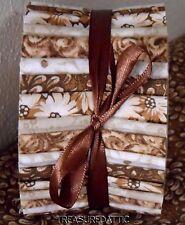 "Honey Bun Strips Quilting Fabric 20~1.5""Brown Cream White Off White Cotton"