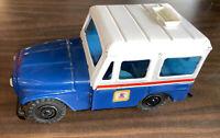 "Vintage Pressed Steel US Mail USPS Jeep Bank Western Stamping Co 8 1/2"" Long"