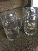 Samuel Adams Octoberfest Dimpled 0.5L Beer Mugs w/Handle - Set of TWO - COOL!!!