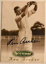 1995 FUTERA HERITAGE CRICKET COLLECTION CARD N0 21/60 SIGNED KEN ARCHER