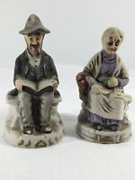 "Vintage Figures - Old Man And Woman Sitting / Reading Pair #32 - 5"" Tall"