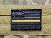 US Flag Thin Orange Line Morale Patch Black Grey EMS EMT PARAMEDIC AMBULANCE