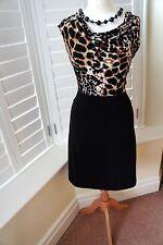 Wallis black Animal print jersey Cowl Neck Wiggle Occasion Dress size 12 VGC