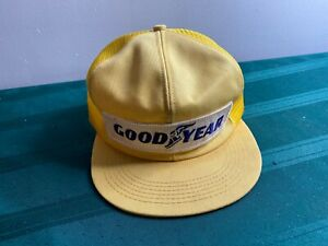 VINTAGE YELLOW GOODYEAR TIRE K-BRAND SNAPBACK MESH TRUCKER HAT MADE IN USA