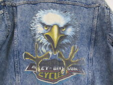 MENS M VTG Harley Davidson Trucker Denim Jean Jacket Eagle Print Button Biker