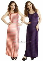 Striped Casual Tank Racerback Stretch Jersey Sleeveless Outfit MAXI LONG DRESS