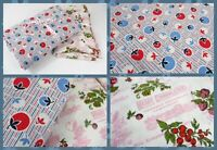 Charming Vintage Fabric 2 pc  Lot Blue Berries / Pink Chocolate Quilting YARDS