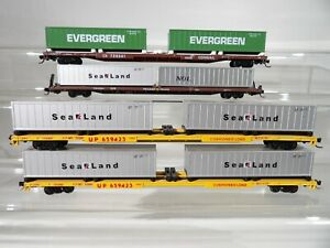 4 N scale Flatcars with containers Conrail- UP- Trailer Train  # 659423